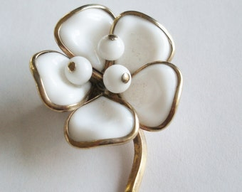 Signed Crown Trifari White  Flower Brooch