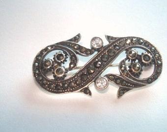 Vintage Jewelry Sterling 925 Marcasite Clear Crystal  Scroll  Flower  Brooch