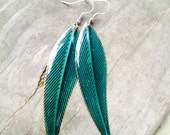 Earrings - Glittery Enameled Steel Leaf Earrings - Teal Green