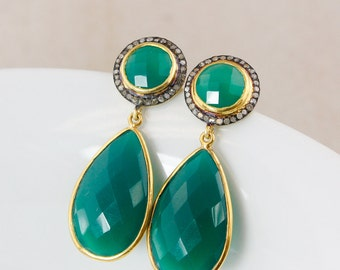 Gold Green Onyx and Pave Diamond Earrings – Glamour Earrings