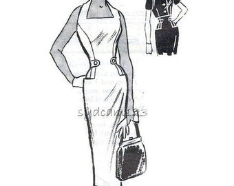 Vintage 1950s Pattern Halter Dress Wiggle Slim Skirt Side Tabes and Pockets and Button Front Cropped Jacket Mail Order 4510 Bust 34 UNCUT