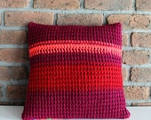 Hand Knitted Throw Pillow Cover striped striped pillow case stripe throw pillow neon red burgundy hot pink crochet pillow decorative pillow