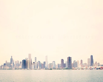 Skyline of Chicago   Color Photography   Lake Michigan Wall Art   Fine Art   pastel, pink, sky blue   art for walls   home decor   urban art