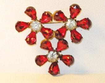 Vintage Red and Clear Rhinestone Floral Brooch Pin (B-1-5)