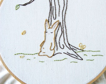 PDF Embroidery Pattern - Nap Time, Bunny Rabbit, Nursery, Autumn, Woodland Embroidery Pattern