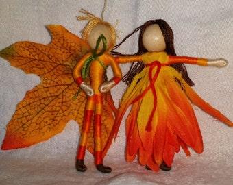 Candy Corn Fairies - Boy and Girl - Halloween Fairy Doll -  Flower Fairy Doll - Fall Flower Fairy