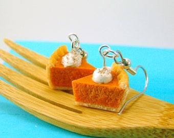 Pumpkin Pie Earrings // Miniature Food Jewelry // MADE TO ORDER Miniature Sweets