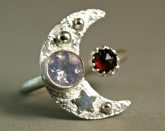 Bohemian Crescent Moon Ring, Faceted Lavender Moonstone Ring, Unique Gypsy Ring, Venus Moonlight