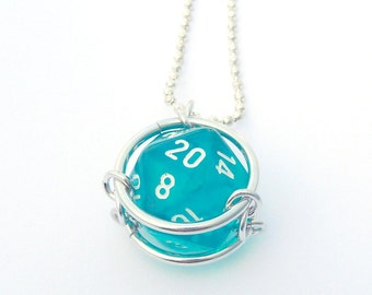 Custom D20 Pendant - You choose dice color