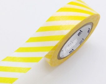 MT Diagonal YELLOW Stripe Washi Tape Japanese MT Orange Masking Tape - Pretty Tape