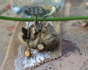 Butterfly Earrings, Butterfly Jewelry, Opal Earrings, Opal Jewelry, Vintage Earrings, Pink Opal Earrings, Wedding Earrings, Valentine, Prom