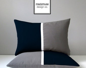 Navy Blue & Grey Outdoor Pillow Cover, Modern Color Block, White Gray Throw Pillow Cover, Decorative Sunbrella Cushion Cover, Mazizmuse