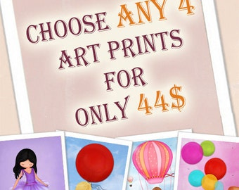 Children Art Prints, nursery wall art , kids room decor - for a special price - Choose ANY 4 art prints girls or boys
