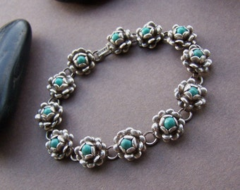 Vintage Estate Bracelet - Sterling Silver Link with Turquoise