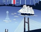 Japanese Tenugui Towel Cotton Fabric, Yokohama Port, Bay Bridge, Sailing Ship, Modern Wall Art Hanging, Wrapping, Headband, Scarf, h065