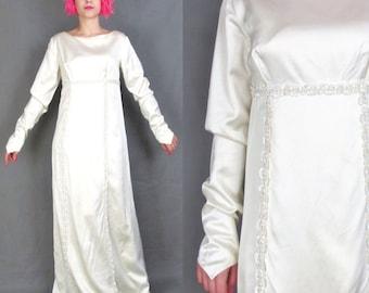 50% OFF SALE 60s Long Sleeve Wedding Dress Ivory Satin Wedding Gown Sequin Empire Waist Pointed Cuffs Floor Length Bridal Maxi Dress (XS)