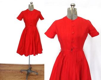 1950s Dress / 50s 60s Dress / 1950s Red Shirtwaist Dress