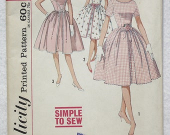 60's Size 14 Bust 34 Dress Vintage Simplicity Sewing Pattern 4343   Full Skirt, Inverted Front Pleat Short Sleeved or Sleeveless