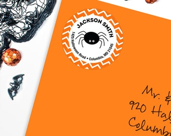 Halloween Address Labels / Spider Address Labels - Sheet of 24