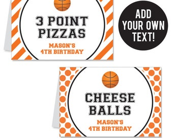 INSTANT DOWNLOAD Basketball Party Buffet Cards - EDITABLE Printable File