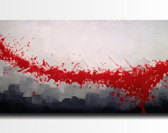 "Original Large Abstract painting- 24 X 48""-by Artist JMJartstudio-Distinction -Wall art-wall decor - Black -red-white painting-Oil painting"