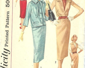 Simplicity 1925 / Vintage 50s Sewing Pattern / Dress Jacket Suit / Size 14 Bust 34