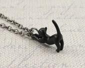 Black Cat Necklace, Gunmetal Black Cat Charm on a Black Gunmetal Chain