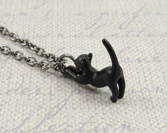 Black Cat Necklace, Gunmetal Black Cat Charm on a Black Gunmetal Chain