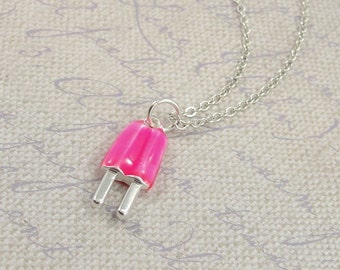 Pink Strawberry Popsicle Necklace, Pink Popsicle Charm on a Silver Cable Chain