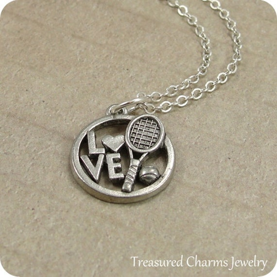 Love Tennis Necklace, Silver Tennis Charm on a Silver Cable Chain