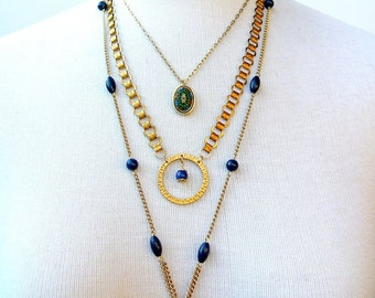 Medallion- Layered Necklace, vintage findings