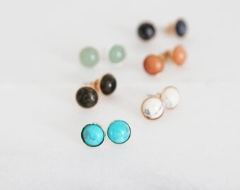 Mini Gemstone Studs - Natural Gemstone Studs in gold, rose gold, or sterling silver