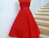 Vintage 1970s Red Dress, 70s Sundress,White Trim ,Cinched Waist Dress, Circle Skirt,70s Summer Dress