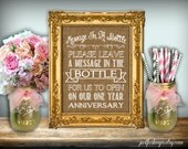 Message In A Bottle Sign Burlap Printable 8x10 PDF Instant Download Rustic Shabby Chic Woodland Please Leave Us A Message In The Bottle