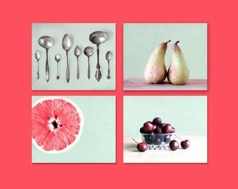 SALE, Mint Kitchen Prints, Food Photography, Set of 4 Prints, Shabby Chic Kitchen Cottage Chic Wall Decor