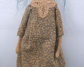 Cloth painted folk art doll rag doll original sculpted blue hair #2
