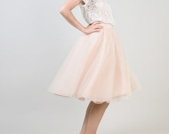 Beige adult tutu  / bridesmaid skirt / short tulle skirt / engagement tutu / bridesmaid tutu / Beige tulle skirt  / nude party skirt