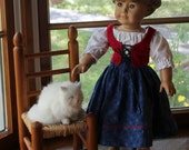 Gretel's Peasant Outfit for Dolls in Blue and Red- Jumper & Blouse -Ready to Ship