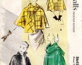 1950s Short Cape Pattern - Vintage McCalls 8645 - Bust 34 With Scarf or High Collar UNCUT