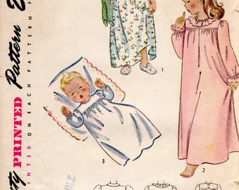 1940s Child's Nightgown Pattern - Vintage Simplicity 1956 - Multiple Sizes Available
