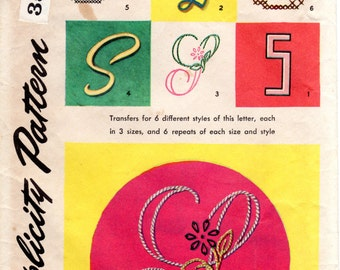 1950s Embroidery Transfer Pattern for Letter S - Vintage Simplicity 4040S