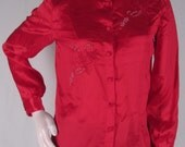 90s Red Silk Blouse 32 Tracy Embroidered Beaded Top Long Sleeve
