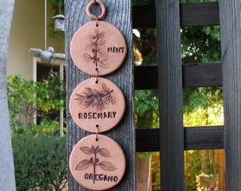 3 Ceramic Herb-Imprinted Discs Wall Hanging - Made with Herbs from My Garden - Mint Rosemary Oregano - Decorative Disks  for Nature Lover