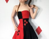 Harley Quinn Corset- overbust, steel boned, custom made, red and black cotton, matching skirt