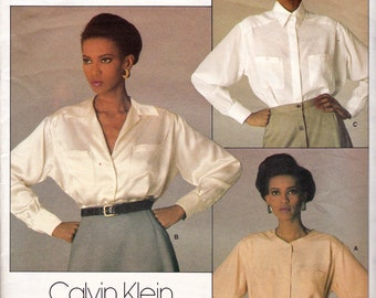1980s CALVIN KLEIN Womens Blouse Pattern Vogue 1455 Vintage Sewing Pattern Size 12 Bust 34 inches UNCUT Factory Folds