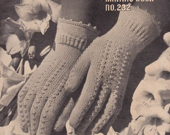 40s Gloves Mittens Hats Knitting Patterns Booklet ORIGINAL Vintage 1940s Womens Patons 232 Booklet NOT PDF