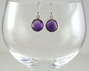 Amethyst Earrings Gemstone Earrings Amethyst Drop Earrings Amethyst Sterling Earrings Purple Earrings Amethyst Silver Earrings Purple Drops