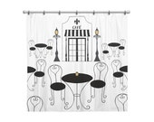 Shower Curtain for Kids Bathroom from Hand Painted Images - Black and White Paris Cafe Theme - Bistro Table & Chairs - Children's Bath Decor