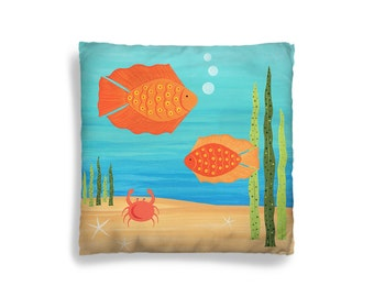 Pillow Cover - Decorative Children's Throw Pillow from Hand Painted Images - Under the Sea Ocean Theme Fish 16x16 18x18 20x20 or 24x24