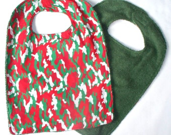 Christmas Holiday Camouflage Toddler Bib,Clothing Protector, Large Baby Bib,Reversible Terry Cloth Bib,Your Choice,Terry Cloth Absorbant,RTS